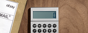 Close-up on calculator and package